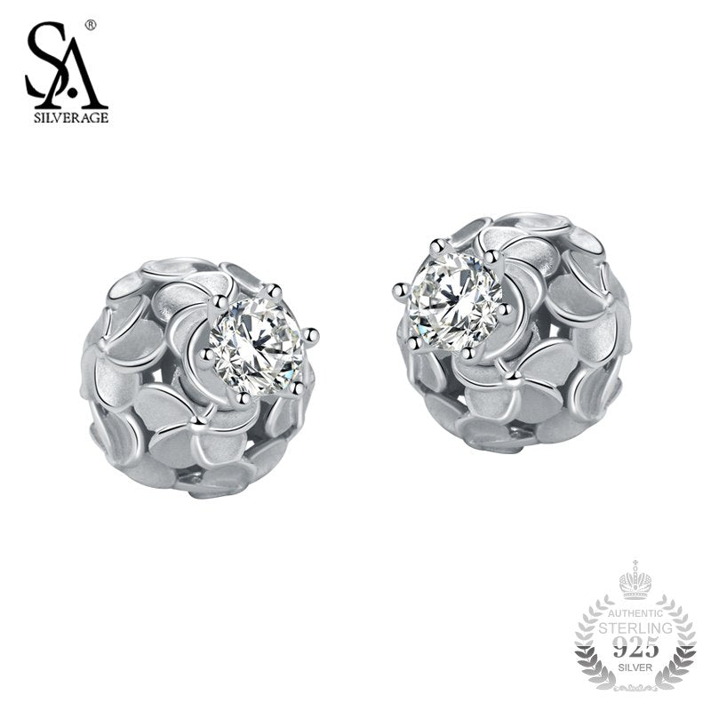 SA SILVERAG Silver Ball Earrings For Women Hollow Petal Flower Stud Earrings With CZ 925 Silver Jewelry Female 2018 Girl Gift