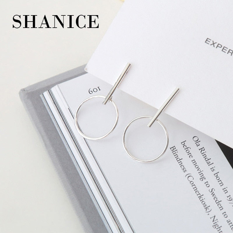 SHANICE 925 sterling silver geometric triangle circle hexagon earring oorbellen, fashion boucles d'oreille women earrings