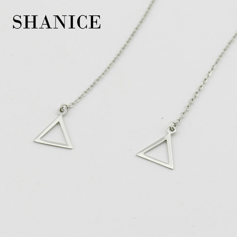 SHANICE 95mm new long earrings 925 sterling silver pear and geometric triangle female ear line show soft anti-allergic tassel
