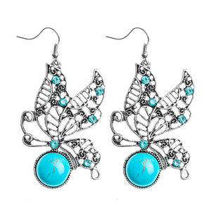Fashion Vintage Butterfly Shape Blue Natural Stone Austrian Crystal Drop Earrings For Women Fine Jewelry Accessories