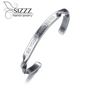 6MM wide stainless steel English open retro silver European and American style men's bracelet&bangles
