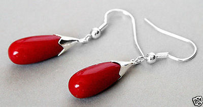 Selling jewerly Pair Red Coral 925 Sterling Silver Teardrop Natural stone 925 Sterling Silver wedding jewelry earrings