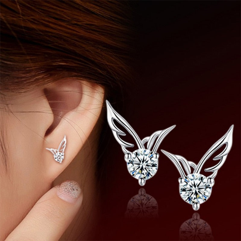 Silver Plated Angel Wings Stud Earrings Women Crystal Rhinestone Zircon Earring Hollow Charm Fashion Ear Jewelry Accessories