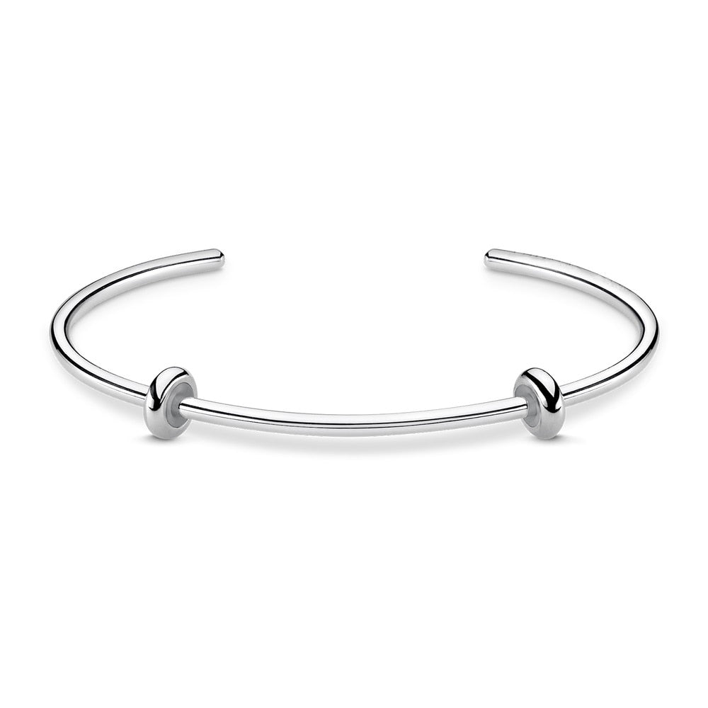 Silver Plated Basic Bracelet & Bangles (Not Include Stopper Beads) Fit Charms, Fashion Bangle Jewelry Bijoux Best Gift For Women