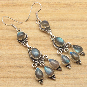 Silver Plated LABRADORITE Blue Flash ART Earrings 2.5 Inches WOMEN'S JEWELRY