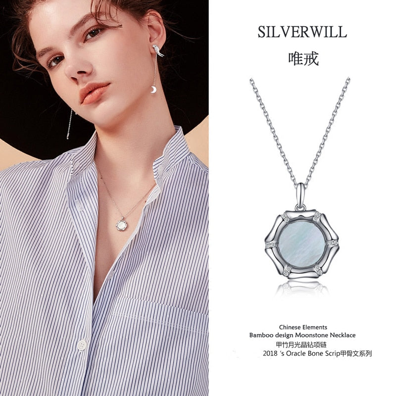 Hot selling 925 Sterling silver nature moonstone necklace pendant bamboo design unisex luxury jewelry gift