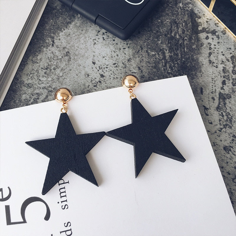Simple Style Wood Star Big Earrings Black Jewelry for Women Exaggerated Statement Wooden Earrings Fashion Jewelry Wholesale