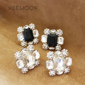 Snowflake Big Black White Crystal Statement Stud Earring Hyperbole Party Woman Focus Stud Earring Design Creative Gift