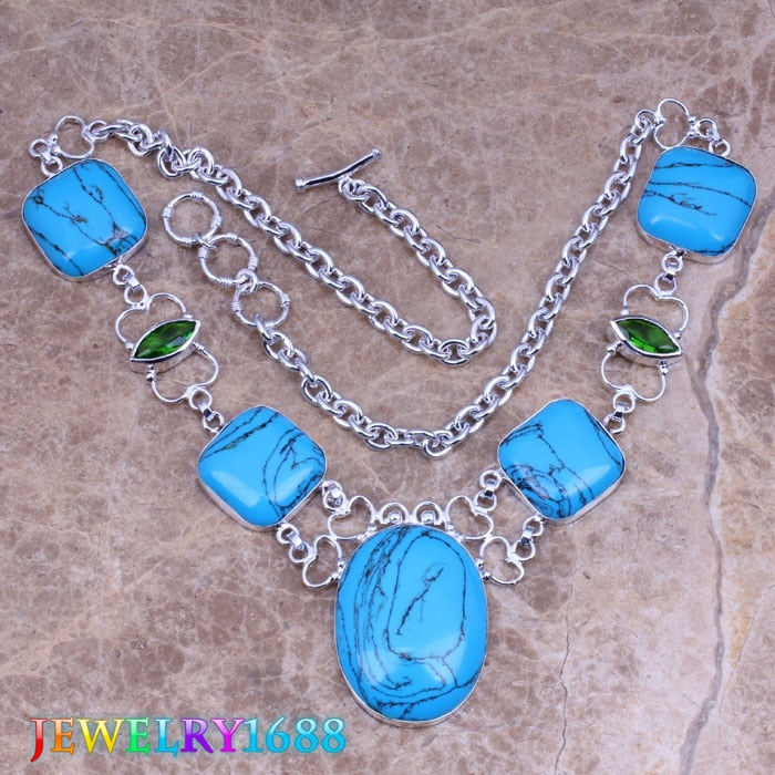 Sparkling Blue Natural Stone 925 Sterling Silver Grade Necklace L722