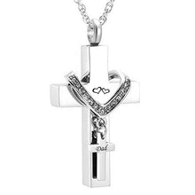Load image into Gallery viewer, Stainless Steel Cross Memorial Cremation Ashes Urn Pendant Necklace Keepsake Jewelry Urn Cremation pendant