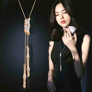 Statement Full Rhinestone Tassel Long Pendant Necklace Women Bijoux Fashion Sweater Jewelry Accessories
