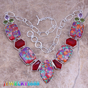 Stunning Multicolor Natural Stone 925 Sterling Silver Grade Necklace L628