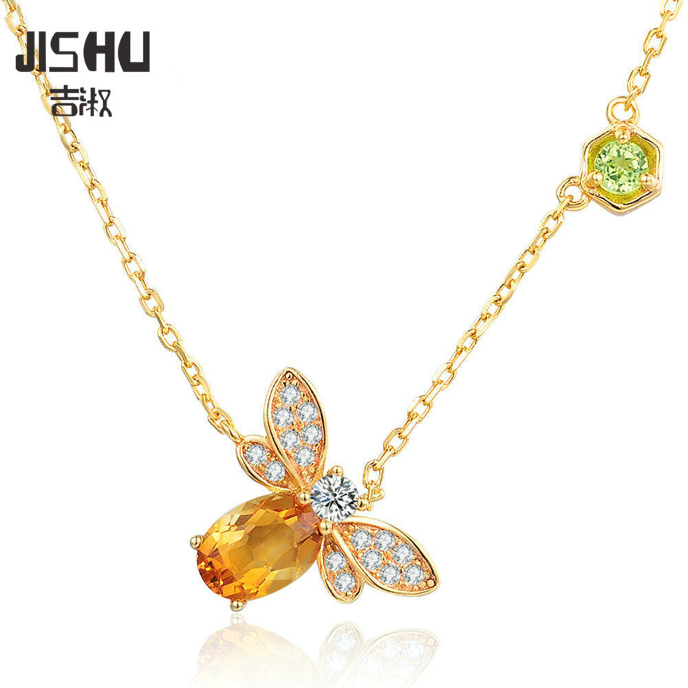 Sweet Bee 1ct 100% Natural Citrine Peridot Yellow Long Chain Amber Necklaces Real 925 Sterling Silver Pendant Necklace Jewelry