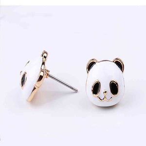 cute student ear clip no piercing personality Panda ear nail earrings hypoallergenic needle trinkets animal double optional