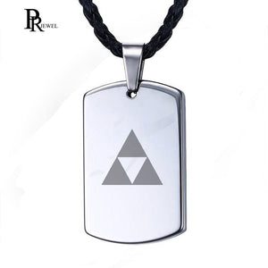 The Legend of Zelda Necklace Men Tungsten Carbide Engraved Triforce Dog Tag Pendant with Black Cord Collar Masculino