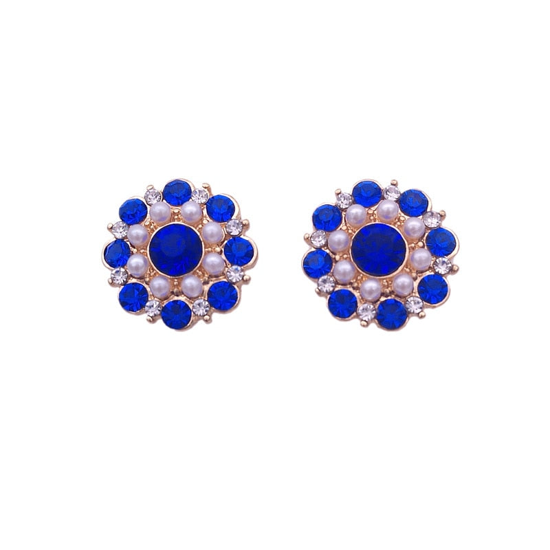 The new stud earrings Fashion simple blue pearl earrings Girl earrings party gift