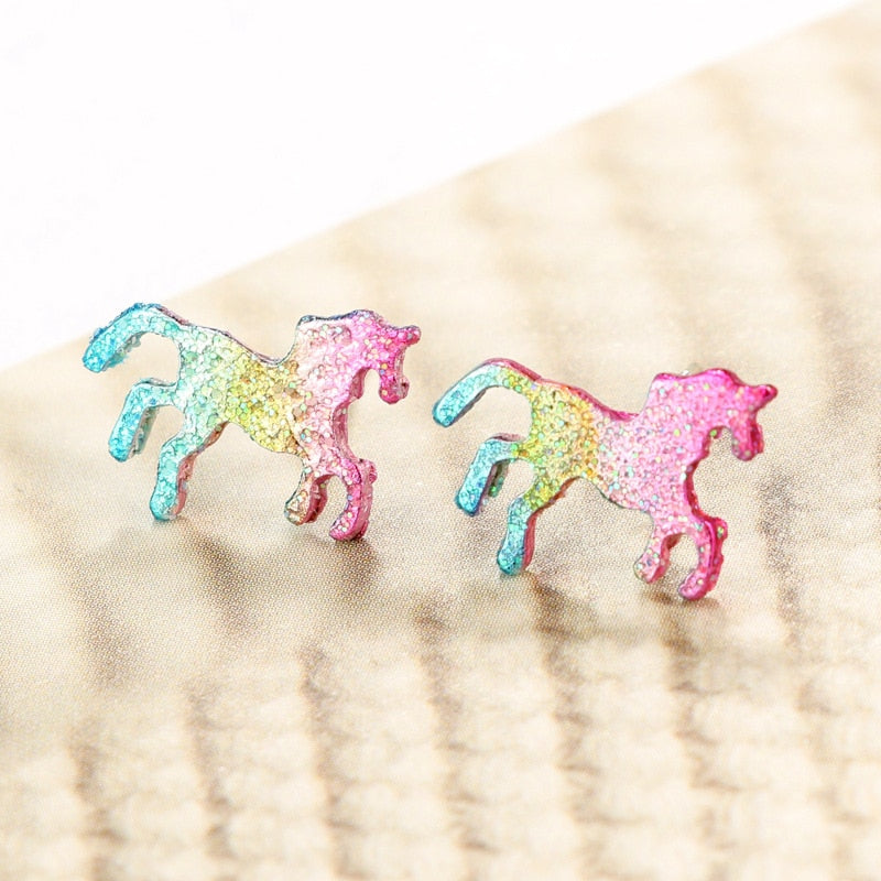 Trendy Colorful Glitter Enamel Unicorn Earrings for Women Cute Animal Horse Stud Earrings Jewelry oorbellen Gift brinco feminino