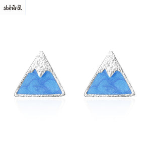 Trendy Enamel Earrings Stud Vintage Triangle Earrings Silver Blue Color Mountain Earrings Punk Style Simple Brincos for Women