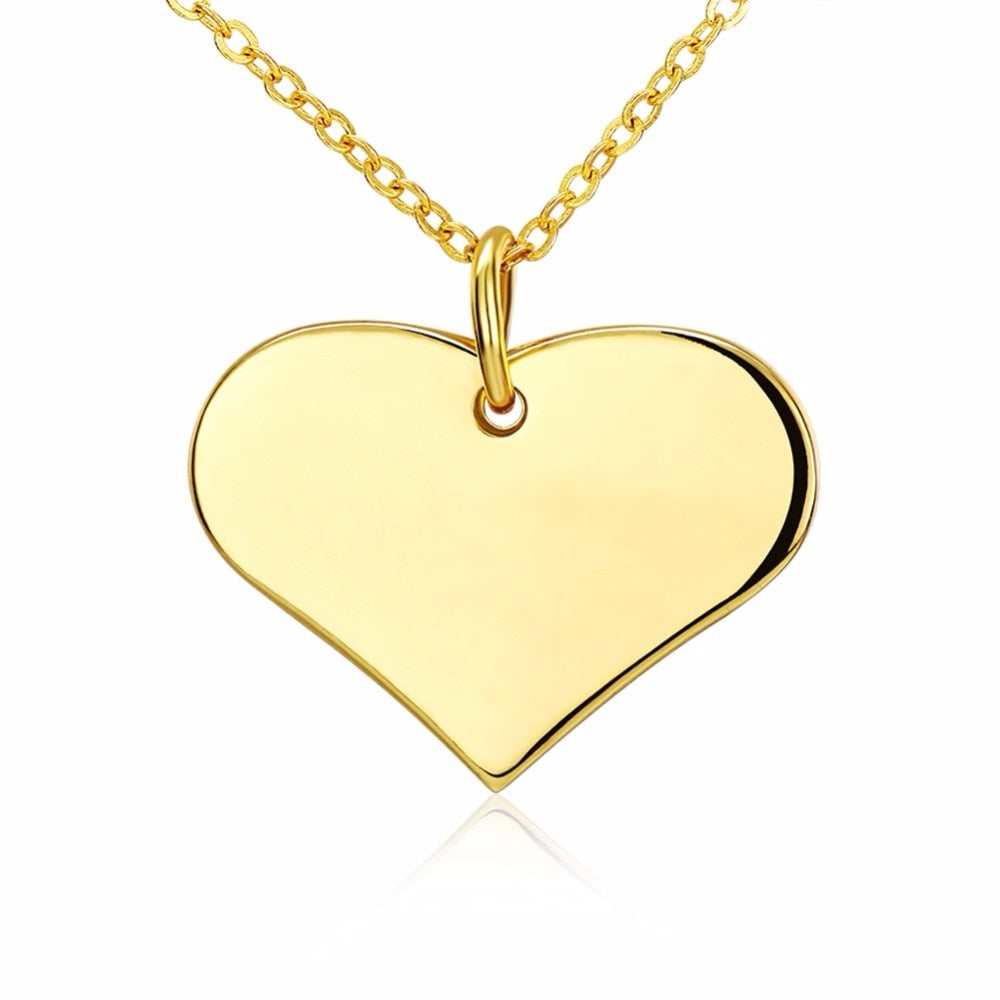 Trendy Heart Necklace Pendant Free 18inch Chain Real 24k Gold Color Necklace Fashion Jewelry