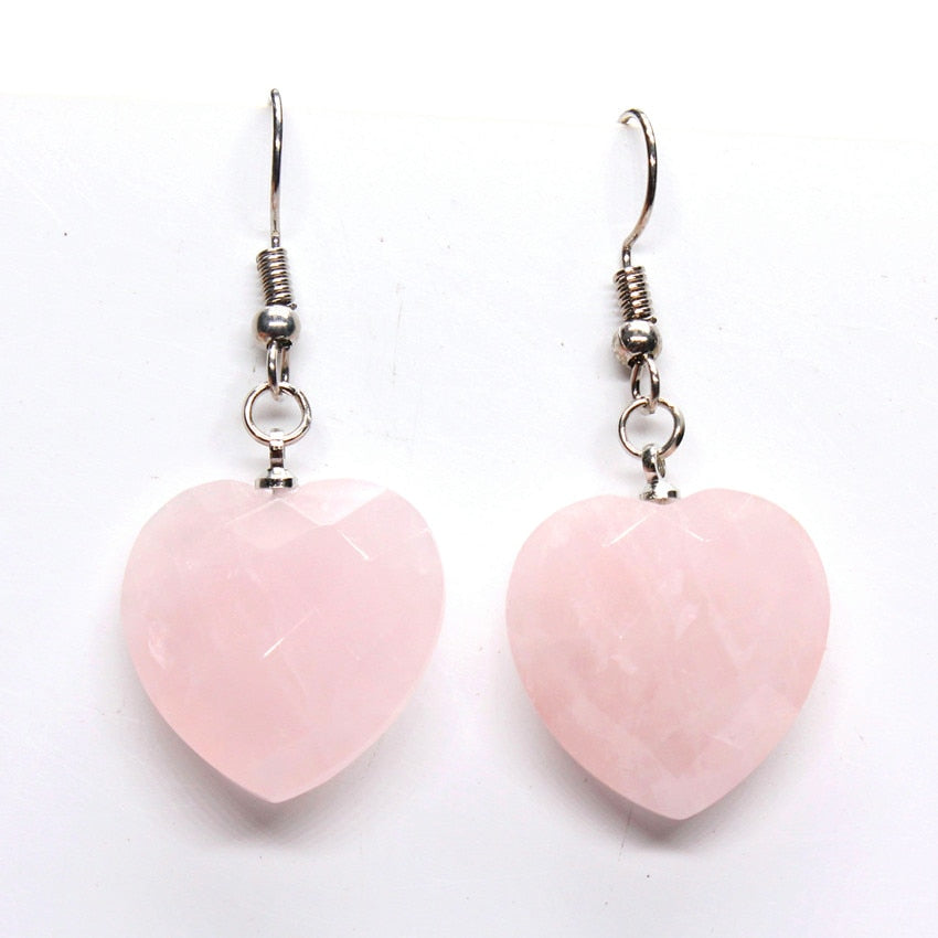 Trendy-beads Elegant Style Silver Plated Natural Rose Pink Quartz Heart Dangle Earrings For Women Valentine's D Gift Jewelry