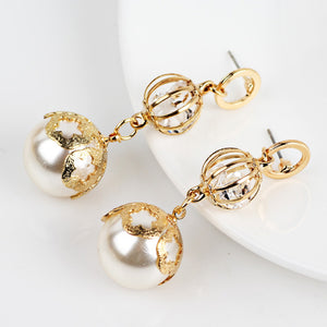 Trendy simulated pearl ball earrings for girls Luxury hollow crystal gold color flower earrings for women accessories