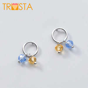 100% 925 Solid Real Sterling Silver Hollow Round CZ Temperament Lovely Stud Earring For Teen Women Fine Jewelry XY1106