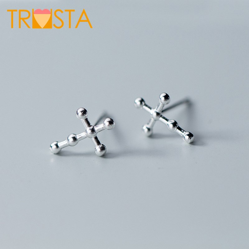 100% 925 Solid Real Sterling Silver Jewelry 8mmX11mm Simple Cross Stud Earring For Teen Girl Friend Kid XY1066