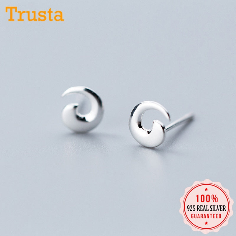 100% 925 Solid Real Sterling Silver Tiny Co Personality Stud Earrings For Girl Women Fine Silver Jewelry DS1231