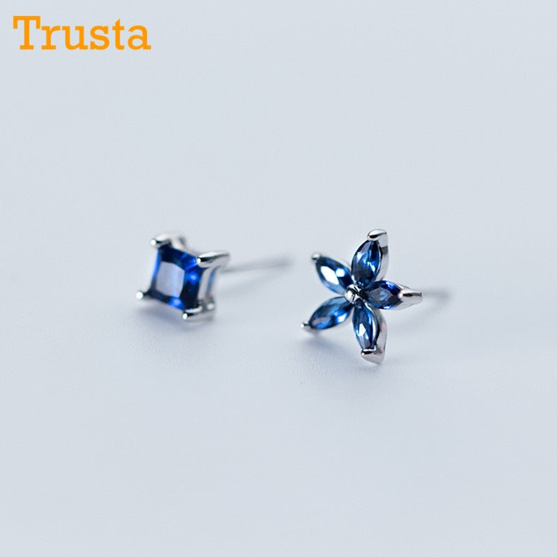 100% 925 Solid Real Sterling Silver Women Jewelry Blue Asymmetric Flower Square CZ Stud Earrings For Daughter Girls DS330