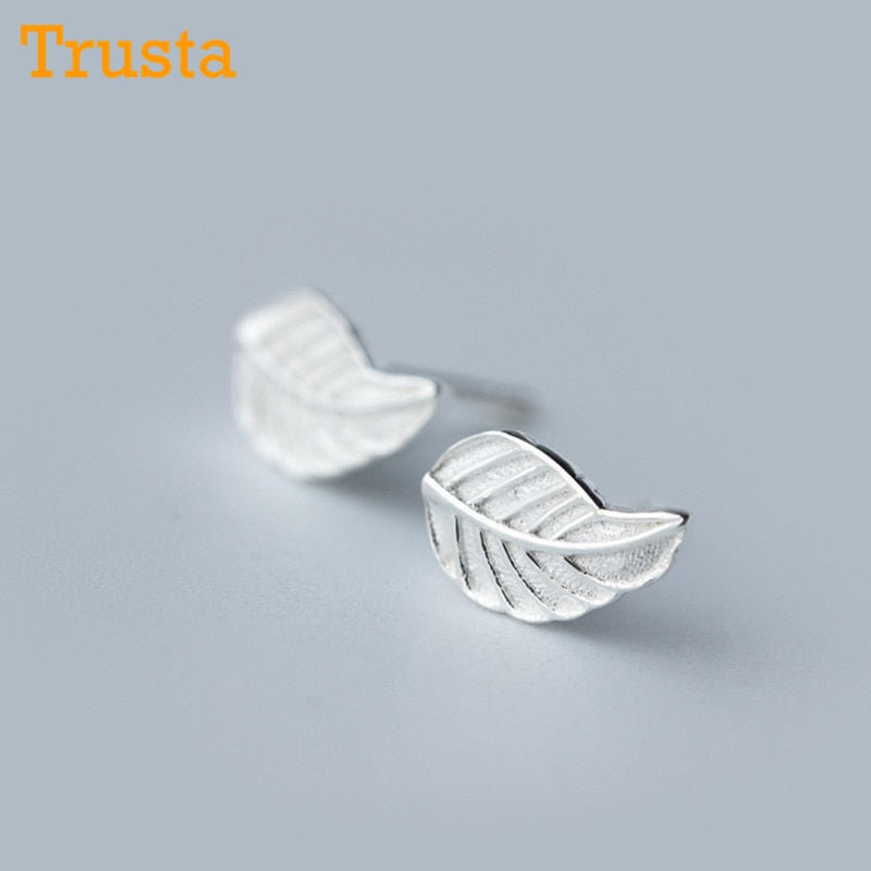 100% 925 Sterling Silver Women Jewelry Fashion Cute Tiny 6mmX9mm Leaf Stud Earrings For Daughter Girls DS424