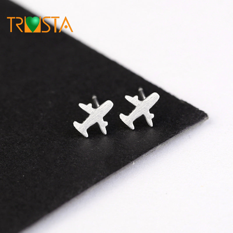 2018 100% 925 Real Sterling Silver Jewelry Women Fashion 8mmX8mm Plane Stud Earring Gift For Girl Kid Lady XY539