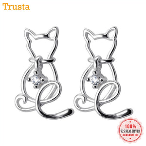 2018 100% 925 Sterling Silver Jewelry Fashion Cute 16mmX10mm Hollow CZ Cat Stud Earrings Gift For Girls Teen Lady DS516