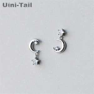 hot new 925 sterling silver personality fantasy stars moon asymmetric earrings temperament fashion earrings GN458