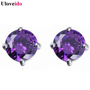 Stud Earrings Silver Plated Earring with Stones Ornamentation Rhinestone Gifts for Women Simulated Diamond Jewelry R281