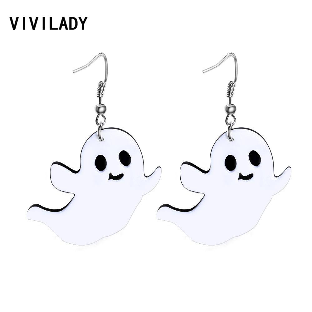 Halloween Ghost Dangle Drop Earrings Women White Acrylic Specter Brincos Girl Statement Boho New Jewelry Party Gifts
