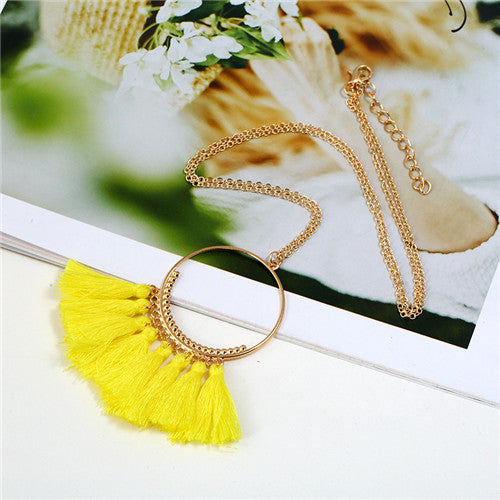 Vintage 15 color Tassel necklaces Ethnic Long chain Sweater chain necklaces for women Long tassel necklace