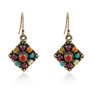 Vintage Bohemian Earrings for Women Fashion Ethnic Multicolor Rhinestone Drop Earrings Eardrop Wholesale boucle d'oreille
