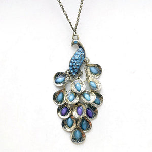 Vintage Bronze Peacock Enamel Rhinestone Pendant Long Necklace With Chain