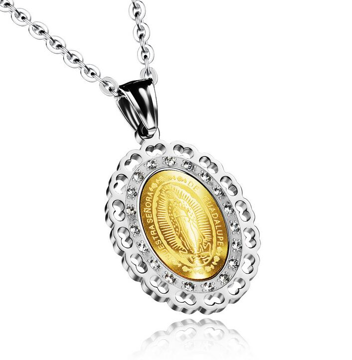 Virgin Mary Unisex Necklaces New Fashion Stainless Steel + Cubic Zirconia Religious Women Men Jewelry Pendant GX1066