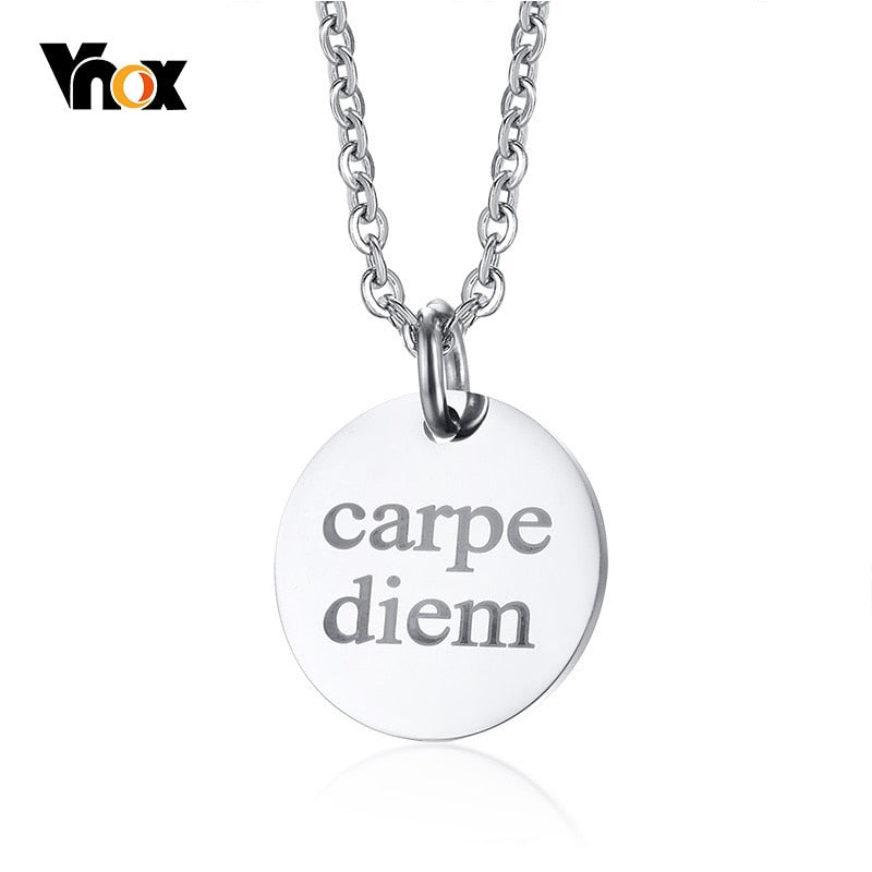 Engraved Carpe Diem Necklaces for Men Solid Silver Color Coin Round Pendant Necklace colar masculino Free Chain 20