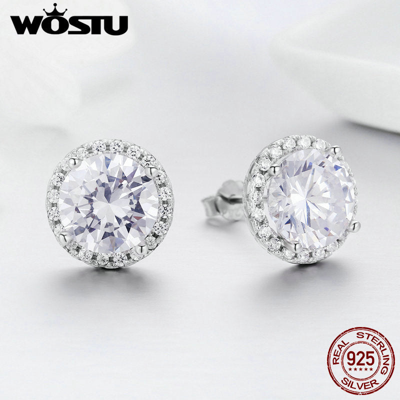 925 Sterling Silver 4 Carat Round Cut CZ Stud Earrings for Women Halo Bridal Bridesmaid Wedding Jewelry Gift FIE358