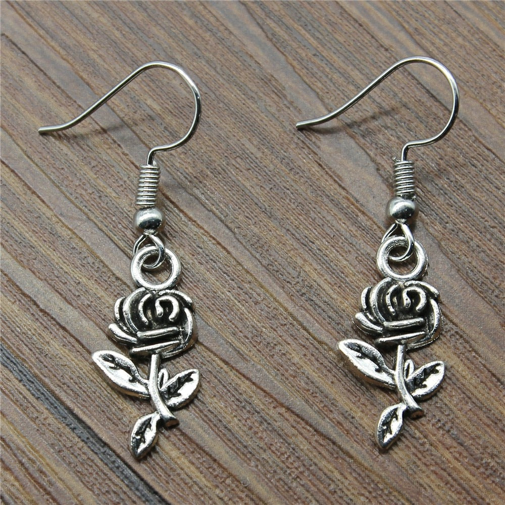 Fashion Handmade Design Simple Flower Rose Charm Drop Earrings, Fashion Earring Jewelry Women Drops Products