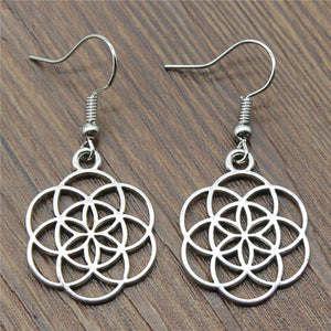 Fashion Handmade Small Flower Of Life Drop Earrings, Vintage Small Flower Of Life Earring Jewelry Gift Dropshipping