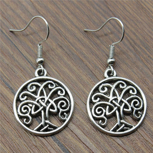 Fashion Handmade Triquetra Symb Life Tree Drop Earrings, Vintage Triquetra Symb Life Tree Earring For Women