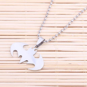 Wholesale (36 pcs/lot) Men Necklaces Jewelry Slippy Bat Batman Sign Pendant Stainless Steel Pendant with Chain Necklace