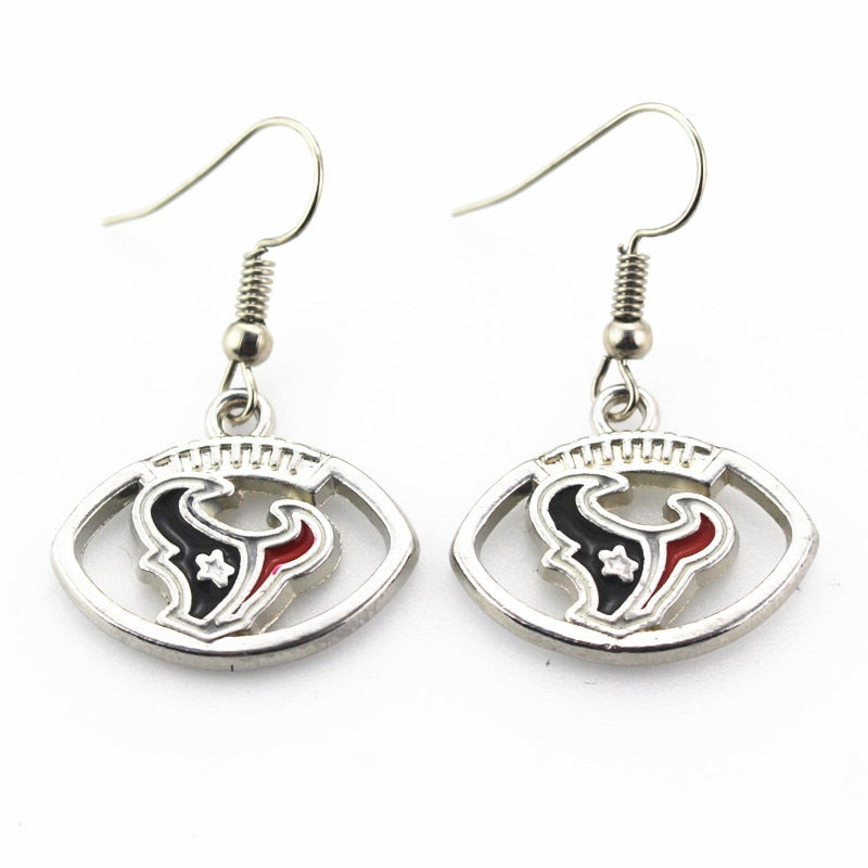 Wholesale 6 pair/lot USA Houston texans Football Earring Team Sports Long ear hook Drop Earrings for Women Fans