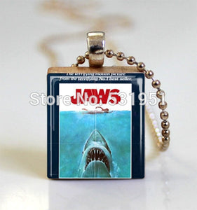 Wholesale Jaws Movie Poster Scrabble Tile Pendant with Ball Chain Necklace Included,Scrabble Tile Necklace