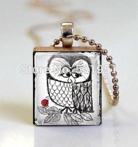 Wholesale Owl Necklace Bird Jewelry Owl and Ladybug Scrabble Tile Pendant with Ball Chain Necklace,wooden scrabble tile Necklace