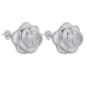 Wholesale silver plated Earring for woman ladies fashion jewelry bright peony flowers /augajlna alrajcya AE283