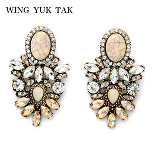 Brincos Resin Zinc Alloy Chic New Fashion Elegant Atmosphere Vintage Flower Crack Imitation Earrings For Women